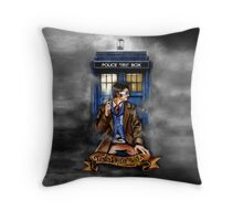Mysterious Time traveller with blue Phone box Throw Pillow
