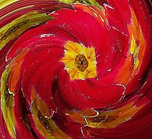 Red Primrose Swirl by Jonice