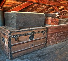 Antique Trunks in the Attic 1800's  by Cathryn  Lahm