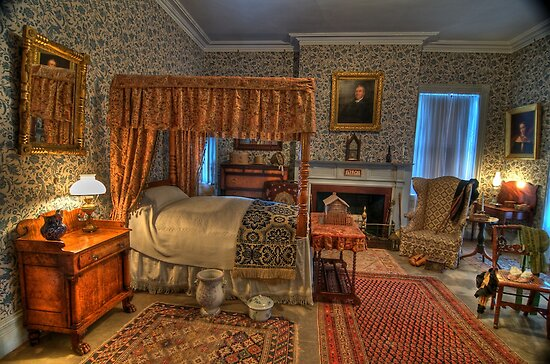 Gentleman's Bed Room 1800's  by Cathryn  Lahm