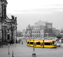 Modern yellow tram at a historical location  by bubblehex08