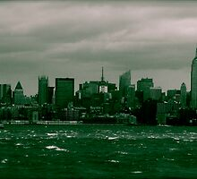 New York from liberty island by Holly Dennis