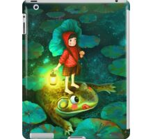The little girl in the pond with frog iPad Case/Skin