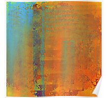 Abstract in Aqua, Copper, and Gold Poster