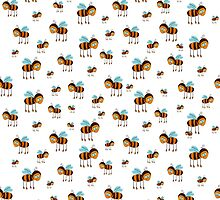 seamless pattern with flying bees on the white background by Ann-Julia
