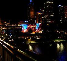 Shining buildings around Yara River, Melbourne by kerol5303