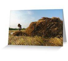 Carrying straw Greeting Card