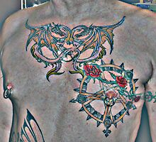 tattooed chest by twindragon