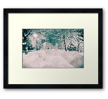 Winter wonderland. Night snowy street in pink and blue tones with halftone effect Framed Print