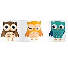 Cute Owls Chibi Poster
