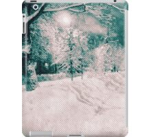 Winter wonderland. Night snowy street in pink and blue tones with halftone effect iPad Case/Skin