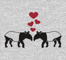 Tapir red hearts love Kids Clothes