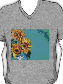 SUNFLOWERS IN BLUE TURQUOISE T-Shirt