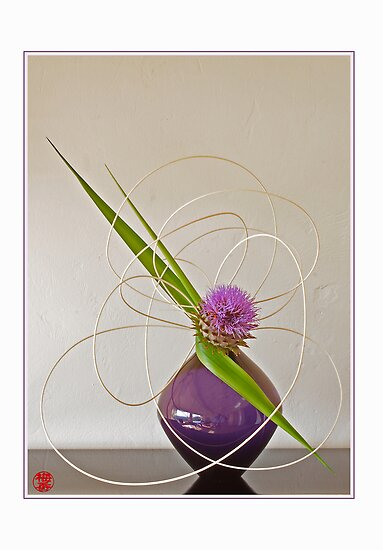 Ikebana-047 Greeting Card by Baiko