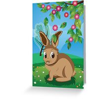 Brown Rabbit on Lawn Greeting Card