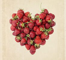 Strawberry Heart on Vintage Paper by WildPoetry