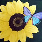 Sunflower with Butterfly by Sooty6