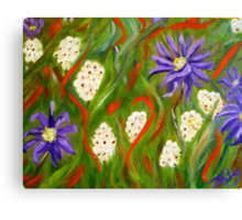 Purple abstract daisies, original art Canvas Print