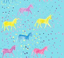 Happy Sparkly Unicorn Happiness pastel colours by foxandbadger