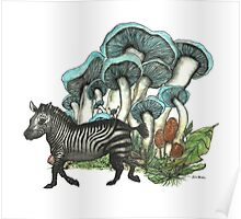 Dancing Zebra Losts in Blue Dizzy Fungi Forest Poster