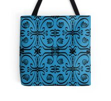 Swirls and Flowers Black on Blue Tote Bag
