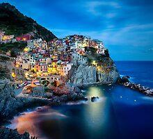 Cinque Terre Night Scenic by George Oze