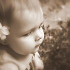 Flower & Girl in Sepia by Evita