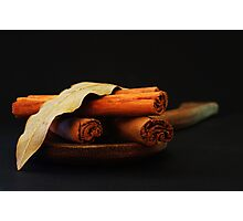 wooden spoon and cinnamon Photographic Print