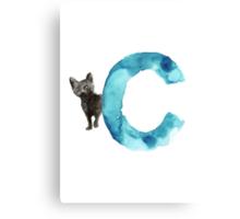 Watercolor alphabet C cat art print for sale Canvas Print
