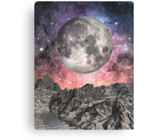 Moon Over Mountain Lake Canvas Print