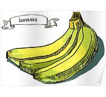 watercolor hand drawn vintage illustration of banana Poster