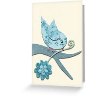 Blue Fabric Bird with Flower On Pale Yellow Greeting Card