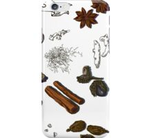 illustration background with hand drawn spices iPhone Case/Skin