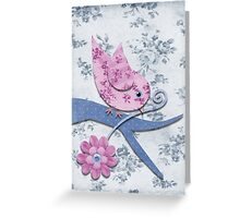 Pink Flowered Bird with Pink Flower on Blue Flowered Background Greeting Card