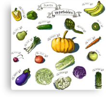 illustration of a set of hand-painted vegetables, fruits Canvas Print