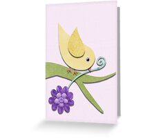 Yellow Bird with Flower on Pink Background Greeting Card