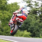 Shane Byrne jumps for the trees, 2008 British superbike championship by 1throughmyeyes
