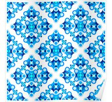 Geometrical ornament in blues Poster