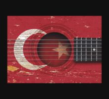 Old Vintage Acoustic Guitar with Turkish Flag Kids Clothes