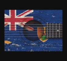Old Vintage Acoustic Guitar with Turks and Caicos Flag Kids Clothes