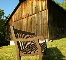 The Bench and The Barn by LeeMascarello