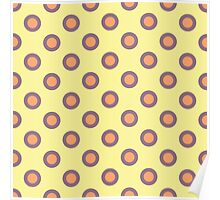orange and purple dots on yellow Poster