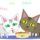 Happy Cats Eating by Jamie Wogan Edwards