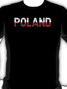 Poland - Polish Flag - Metallic Text T-Shirt