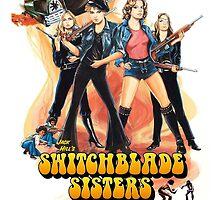 Switchblade Sisters Alt 1 (Blue) by PulpBoutique