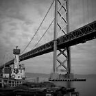 Bay Bridge and Fire Boat by David Pierce