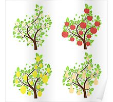 Stylized Fruit Trees Poster