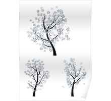 Trees with Snowflakes Poster