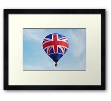 Red White Blue British Union Jack Flag Hot Air Balloon in Flight Framed Print