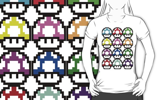 Multi-coloured Mushrooms by KillbotClothing